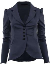 Mardela Frauen 5 Knöpfen vorne Ponte Bold Schulter Damen Blazer-Jacken-Mantel