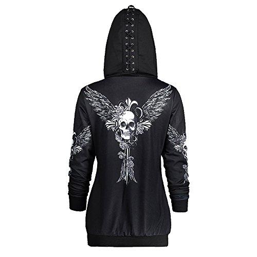 Hannea Skull Wings Print Halloween Zip up Hoodie