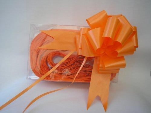 Orange Satin Gift Bows - 50mm - Pack of 5