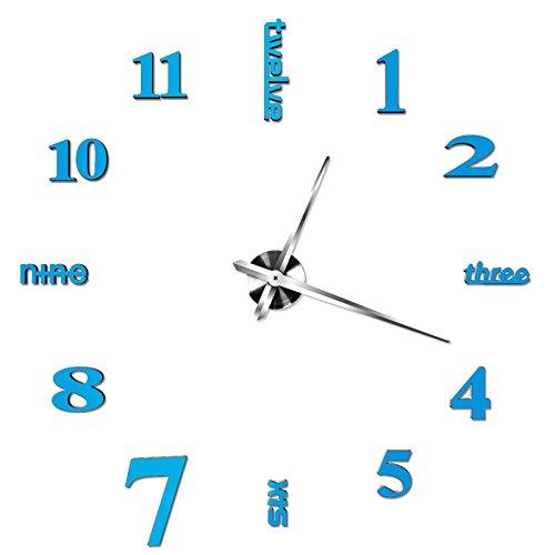 Wanduhr Moderne Clock 3D Acryl Spiegel Metall Rahmenlose Wandaufkleber groß Uhren Style Raum Home Dekorationen,Blau