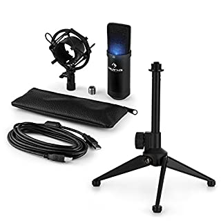 auna • MIC-900RD • USB Mikrofon-Set V1 • Kondensatormikrofon + Mikrofon-Tischständer • Nierencharakteristik • USB-Schnittstelle • Plug & Play-Kompatibel Windows, Mac • perfekte Haltteeigenschaft • Höhenverstellbar 12 - 19,5 cm • rutschfeste Gummifüße • rot