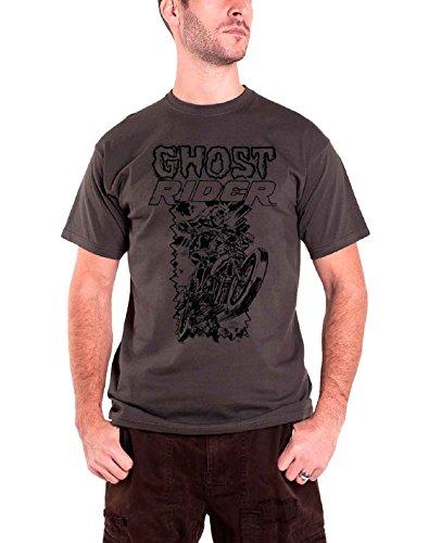 Marvel Ghost Rider T Shirt Skulled Bike Rider offiziell Herren Dark Grau Comics