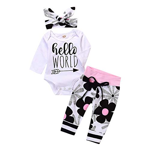 Produktbild Ears 3 PC Baby Clothes Winter Baby Girl Outfits ClothesToddler Infant Baby Girls Letter Floral Print Romper Jumpsuit Pants Outfits Set (80,  Weiß)