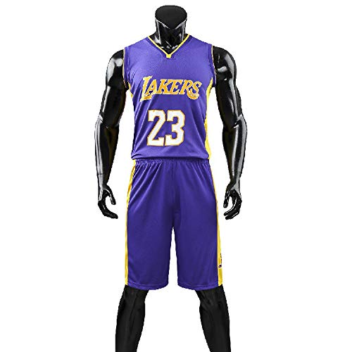 Hanbao Herren-und Unisex-Basketball-T-Shirt-Sommer-Basketball-Uniform NBA Lakers ♯23 James Fan Edition # Jersey-Classic ärmelloses Top und Shorts (L-5XL)