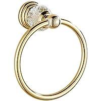 Comparador de precios Bathine toalla de perforación toalla anillo de toalla anillo libre de cristales Europea bastidor soporte del anillo de oro antiguo baño toalla anillo colgante libre de la uña - precios baratos