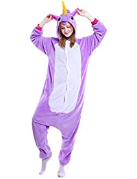 b0731931bc Semia Unisex Unicornio Pijama Mujer Hombre Traje Disfraz Animal Adulto  Cosplay Festival de Carnaval Halloween Navidad