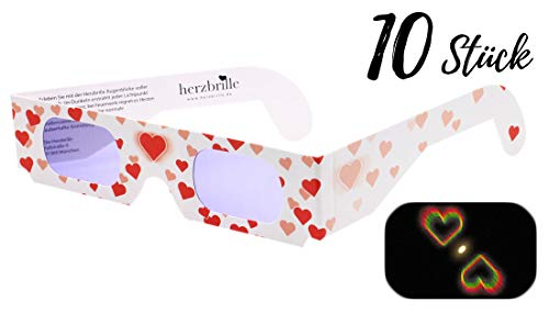 Die Herzbrille Liebesrausch (10 Stück) - Herzchen sehen in jedem Licht: Ideal für Hochzeiten & Partys