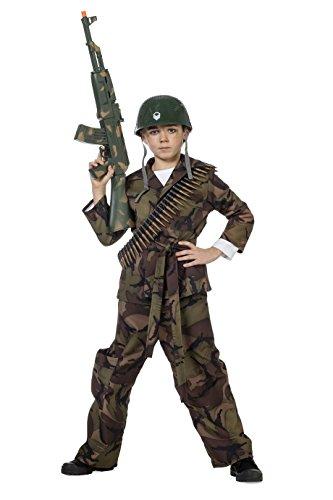 der-Kostüm Jungen Overall (ohne Kappe) Soldaten-Anzug Tarnfarbe Militärunform Armee Army Luftwaffe Marine Karneval Fasching Hochwertige Verkleidung Fastnacht Größe 164 Grün ()