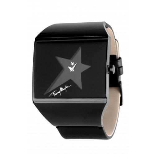 Thierry Mugler 4702803 - Reloj analógico de cuarzo para mujer con correa de piel, color negro