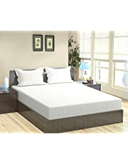 "Trance Home Linen 100% Cotton 210TC Satin Stripes Queen Double Fitted Bedsheet 78"" * 60"" with 2 Pillow Covers"