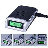 CkeyiN-Universal Cargador ,Universal Cargador Rápido ,con 4 Ranura Independiente ,para Pila Recargable AA, AAA,Ni-MH,Ni-Cd Clase de eficiencia energética A++ /Negro