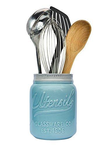 """Comfify Pot Mason Grande Ouverture Support à Ustensile Cruche Organisatrice Décorative d'Équipement de Cuisine, Adapté Lave-Vaisselle - Bleu Turquoise, Grande Taille Haut de 7"""""""