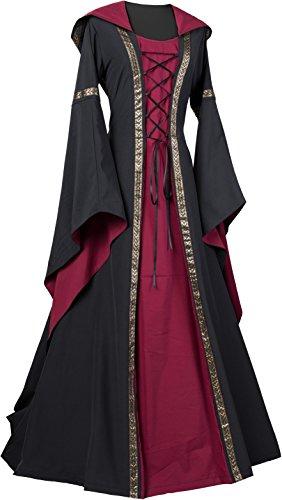 Dornbluth Damen Mittelalter Kleid Maria (40/42 kurz, Schwarz-Terracotta)