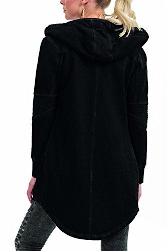 trueprodigy Casual Damen Marken Sweatjacke einfarbig Basic, Oberteil cool und stylisch mit Kapuze (Langarm & Slim Fit), Sweat Jacke für Frauen in Farbe: Schwarz 2573511-2999 Black