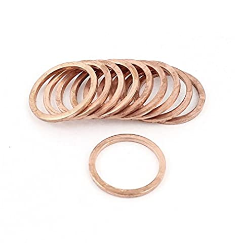Copper Washer - SODIAL(R) 10 Pcs 22mmx27mmx2mm Flat Copper Crush Washer Ring Gasket Fitting