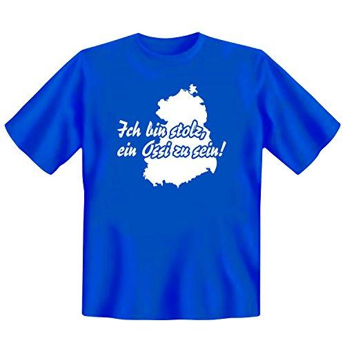 Tshirt Ich bin stolz, ein Ossi zu sein! blau | INKL DDR Geschenkkarte | Ostalgie | Ideal für jedes DDR Geschenkset | Ostprodukte