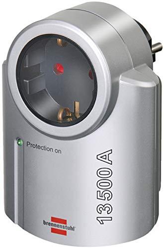 Brennenstuhl Primera-Line, Steckdosenadapter mit Überspannungsschutz (Adapter als Blitzschutz für Elektrogeräte) Farbe: silber/schwarz