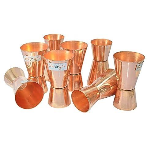 Dungri India Craft ® (Set of 8) Jigger en verre de verre de cuivre pur - 30 ml (1 oz) et 60 ml (2 Oz) - Coupe de mesure à double mesure, lunettes de vue à double face, Cocktail Cocktail