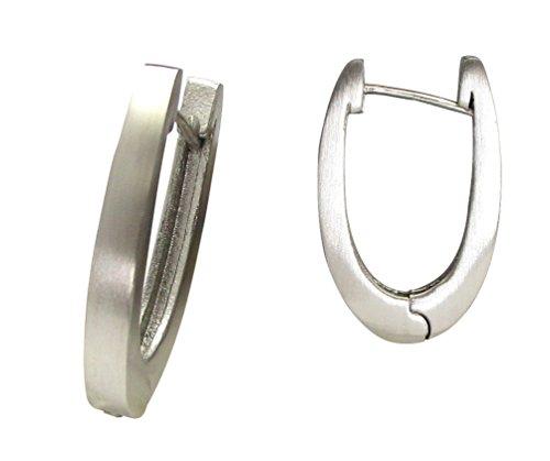 Kikuchi Herren Damen Ohrringe Edelstahl Klapp- Creolen Ohrhänger Silber Matt U Design ER15162