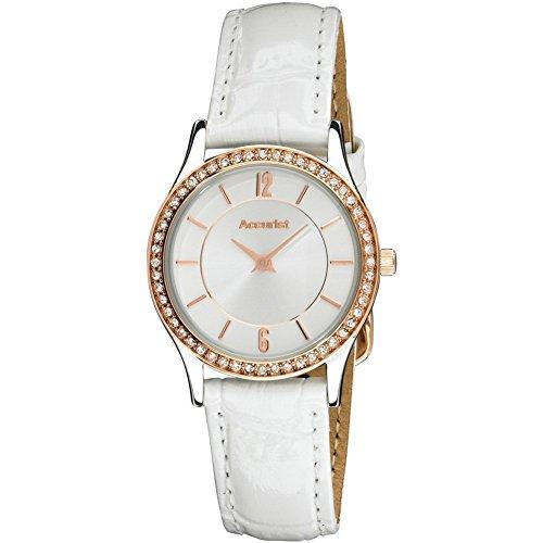 Accurist LS648 - Reloj para mujeres, correa de cuero color blanco