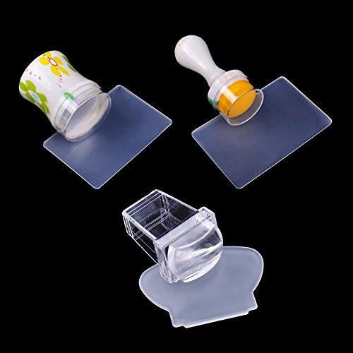 Biutee Nouveau Design Pure Clair Jelly Coque en Silicone Nail Art Stamper Grattoir avec Capuchon Transparent 3 Tailles à Ongles Tampon Stamping Outil
