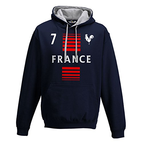 Felpa Cappuccio Bicolore Uomo Nazionale Sportiva France Francia 7 Calcio Sport Europa Gallo 1 KiarenzaFD Streetwear New French Navy-Heather Grey