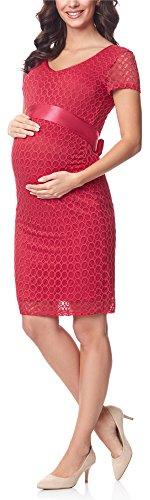 Rosa rotes Umstandskleid elegant mit Satinband und Schleife