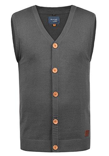 Blend Lennardo Herren Strickjacke Pullunder Cardigan Feinstrick Pulli Ärmellos mit V-Ausschnitt aus hochwertiger Baumwollmischung Meliert, Größe:M, Farbe:Pewter Mix (70817) -