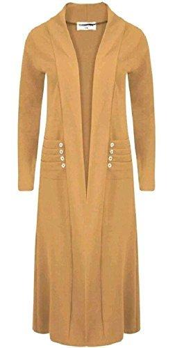 pour femme neuf bout ouvert manches longues ruché poches détail Bouton maxi cardigan manteau UK 8-18 Moutarde