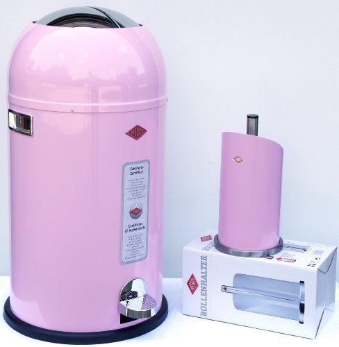 Preisvergleich Produktbild Wesco Kickmaster 33-Liter SOFT CLOSE Abfallsammler & Küchenrollenhalter im Set, Farbe: pink