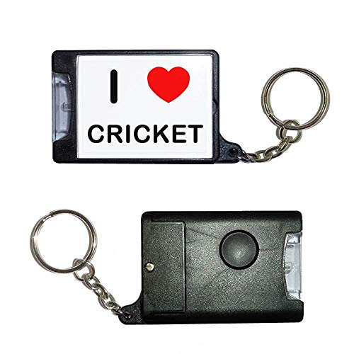 BadgeBeast.co.uk I Love Cricket - Schwarze Taschenlampe