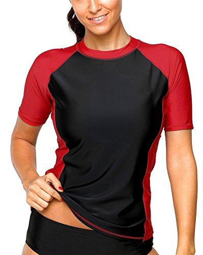 Attraco Damen Bademode Rash Guard UV Shirts Kurzarm Surf Shirt Badeshirt UPF 50+ Schwarz Rot M