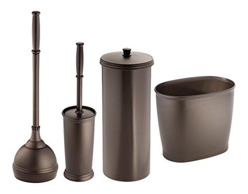 mDesign MetroDecor WC-Bürste, Kolben/Toilettenpapierhalter/Ovaler Abfalleimer, Bronze, 4 Stück