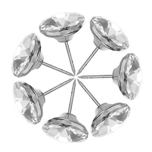Healifty 20 Stücke Sofa Kopfteil Polster Kristall Knöpfe Diamant Kristall Polster Nägel Tacks für Sofa Kopfteil Möbel DIY Handwerk 25mm (Silber) -