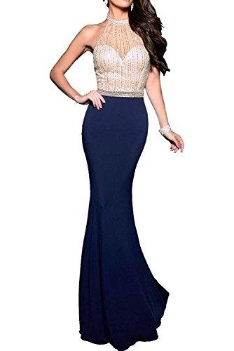 Charmant Damen Herrlich Chiffon Steine Damen Abendkleider Festlichkleider Abendkleider Lang Meerjungfrau Trumpet Ballkleider Navy Blau