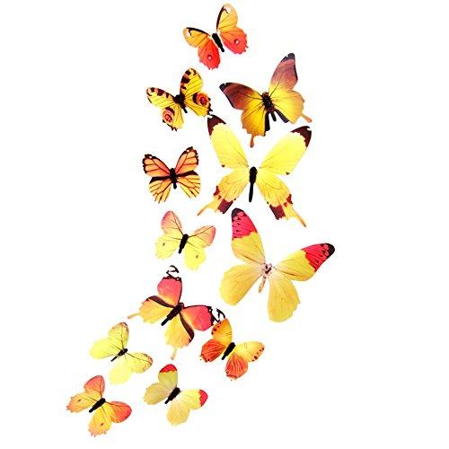 FORH 12 PCS 3D Schmetterlinge Wanddeko Aufkleber Abziehbilder Wand Aufkleber Hauptdekorationen Wandtattoo Schmetterlings Regenbogen Wand-dekor Kinder Baby Schlafzimmer Deko (Gelb 1) (Gelbes Schmetterlings-wand-aufkleber)