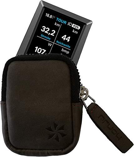 honju Bike Premium-Antik Echtledertasche für Bosch Kiox E-Bike/Pedelec (Displayschutz, edles Design, Innentasche, Schutz vor Kratzer & Schmutz) - braun