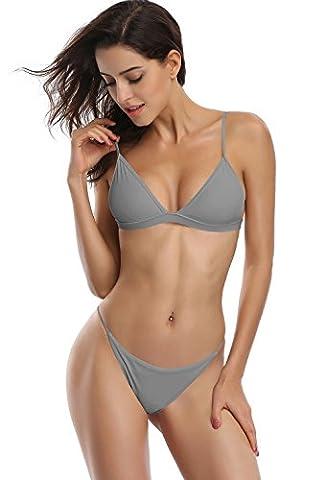 SHEKINI Nouvelle Femme brésilien Triangle Bas Solide sexy Deux pièces Ensembles Bikini Boucle arrière Maillots de Bain Plage (M, gris)