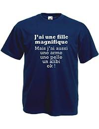 5aa28471938fa FUNNY SHIRT T-Shirt Bleu Marine J Ai Une Fille Magnifique Humour Père Jaloux