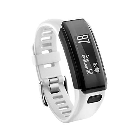 Garmin Vivosmart HR+ Armband, SHOBDW Ersatz Soft Silikon Armband Sport Strap WristBand Zubehör für Garmin Vivosmart HR + (Weiß-1, 230MM)