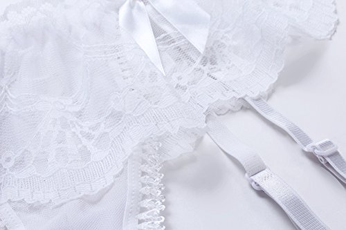 Cszxx Strumpfhalter Damen und Strumpfsets Sexy Lace Strumpfhosen Strapse (Weiß) - 6