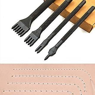 aiskaer Edelstahl 4mm 1/2/4/6Zinken DIY Diamant Schnürung Nähte Meißel Set Leder Craft Kits (Upgrade Abschnitt Schwarz)