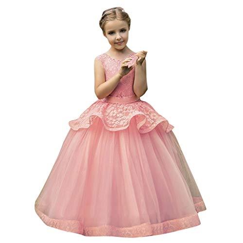 Bestow Vestido sin Mangas de Malla de Rosa para niños Vestido de Fiesta de Bodas Vestido de tutú Ropa sin Mangas(Rosado,11-12T)
