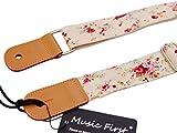 Musik Erste Original Design Rosa Ölweide in Creme Soft-Baumwolle und echtem Leder Ukulele Ukulele Umhängeriemen