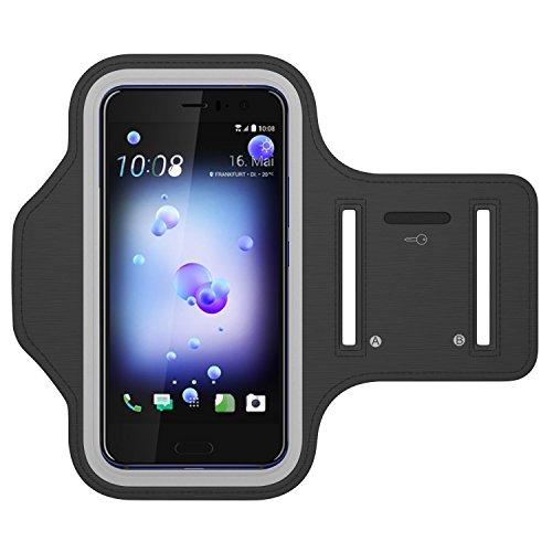 HTC U 11 Fascia da Braccio Corsa e Palestra, con Slot portachiavi, Resistente a sudore Bracciale Sportiva Escursioni in bicicletta Arrampicata Allenamento fitness Formazione Quando si viaggia Lettura Cook Pulizia Giardinaggio Pesca o nel lavoro domestico, ecc borsa manica cellulare per HTC U 11 Nero