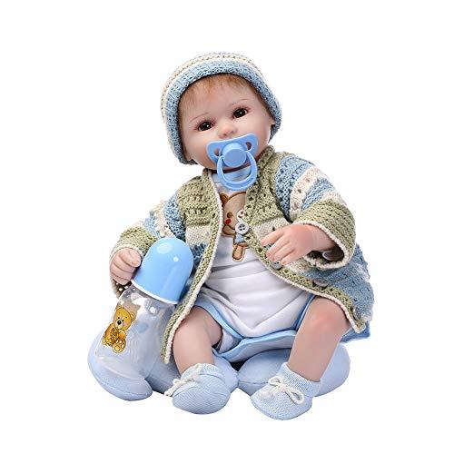 MnoMINI Puppe Reborn Babypuppe New Born Baby Baby Puppe Neugeborenes Baby Doll Silikon Spielzeug Puppe Jungen Mädchen Spielzeug Funktions Baby Puppe Kinder Geschenk Geburtstagsgeschenk (Beruhigungssauger Mädchen Neugeborene)
