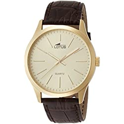 Lotus Men's Quartz Watch with Gold Dial Analogue Display and Brown Leather Strap 15962/2