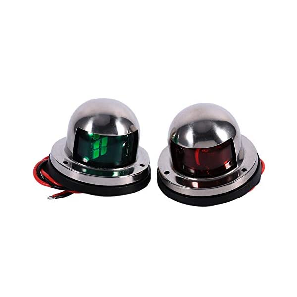 1 Pair Led Bow Boat Navigation Lights Red and Green, 12v Anti-corrosion Marine Boat Yacht Light 8 LEDs Kit Stainless…