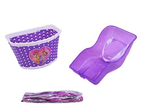 Kids Girls Princess Purple Bike Accessories Glitter Pack Dolly Baby Seat, Woven Basket, Tassels & Free Grips Pac