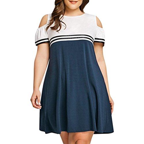Heiß! Damen Kleid Hevoiok Frauen Sommer Schulterfrei große größen Knielang Kleid Abendkleid Cocktailkleid Casual Party Kleid Strandkleid (Blau, XL)